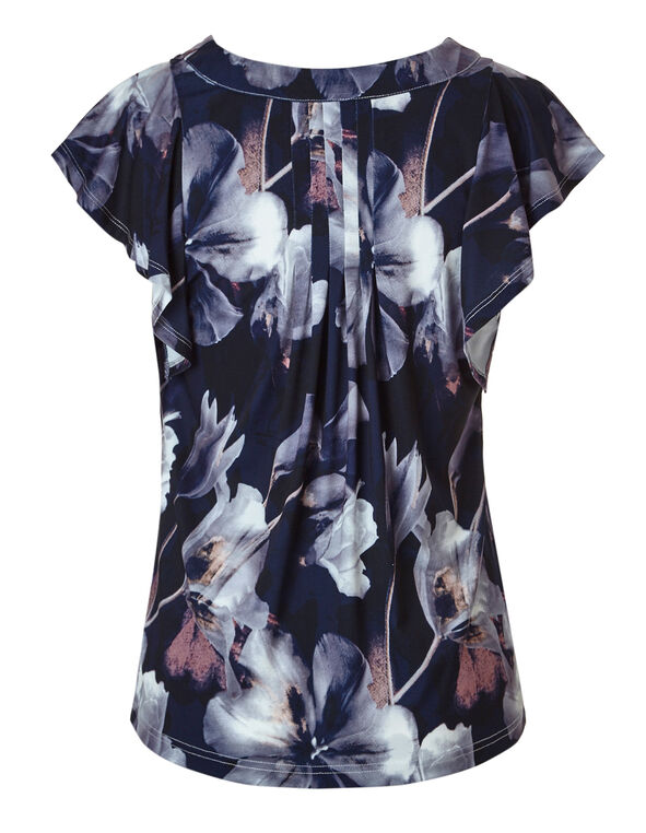 Navy Printed Flutter Sleeve Top, Orchid/Navy Print, hi-res