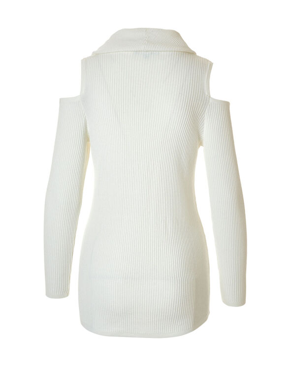 Ivory Cold Shoulder Sweater, Ivory, hi-res