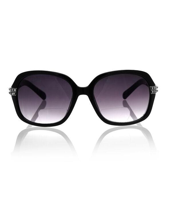 Black Bling Oval Frame Sun Reader, Black, hi-res