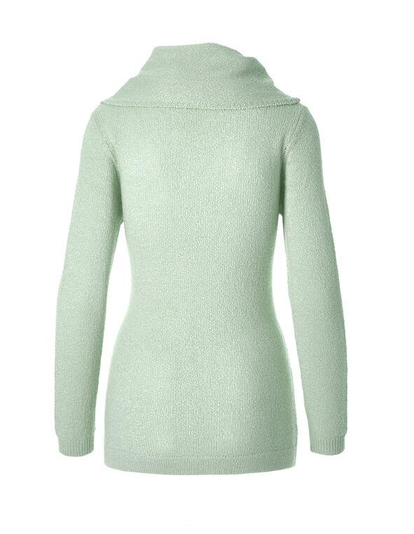 Zig Zag Knit Cowl Sweater, Winter Mint, hi-res