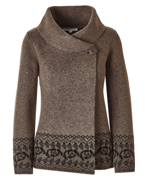 Brown Shawl Neck Cardigan , Brown, hi-res