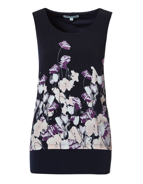 Orchid Printed Double Layer Top, Orchid Print, hi-res