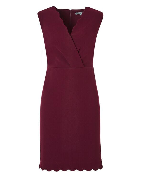 Claret Scallop Shift Dress, Claret, hi-res