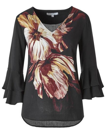 Black Floral Ruffle Sleeve Blouse, Black, hi-res