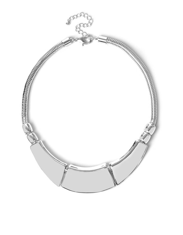 Short Silver Hammered Necklace, Silver, hi-res
