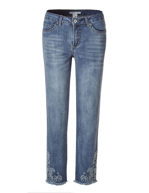 Light Wash Floral Ankle Jean, Light Wash, hi-res