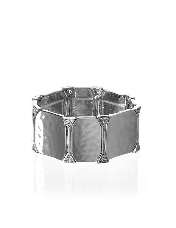 Silver Hammered Stretch Bracelet, Silver, hi-res