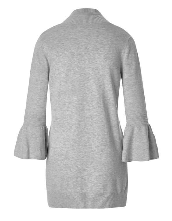 Grey Bell Sleeve Mid Cardigan, Light Grey, hi-res