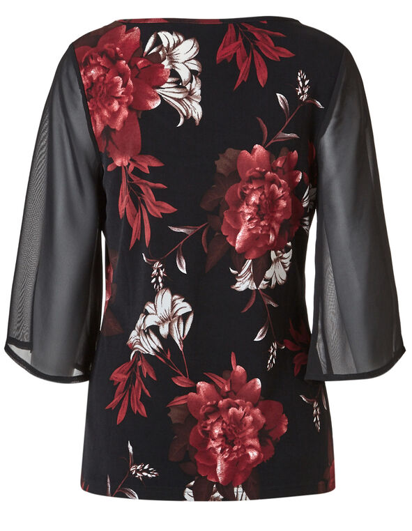 Red Floral Chiffon Sleeve Top, Black, hi-res