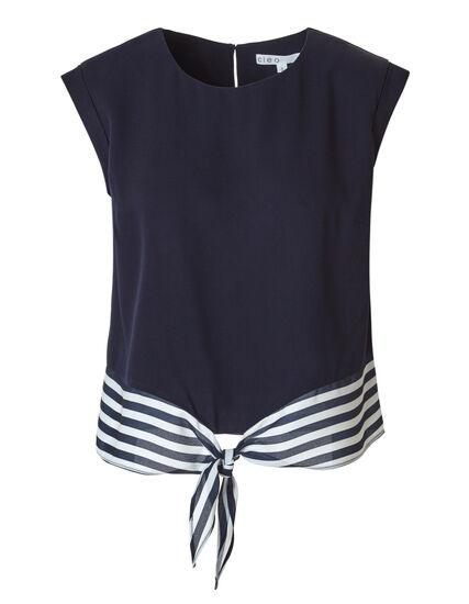 Navy Bottom Hem Tie Blouse, Navy/White, hi-res