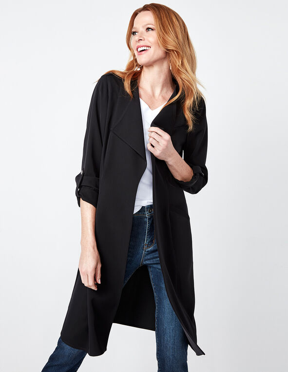 Black Draped Open Front Soft Jacket, Black, hi-res
