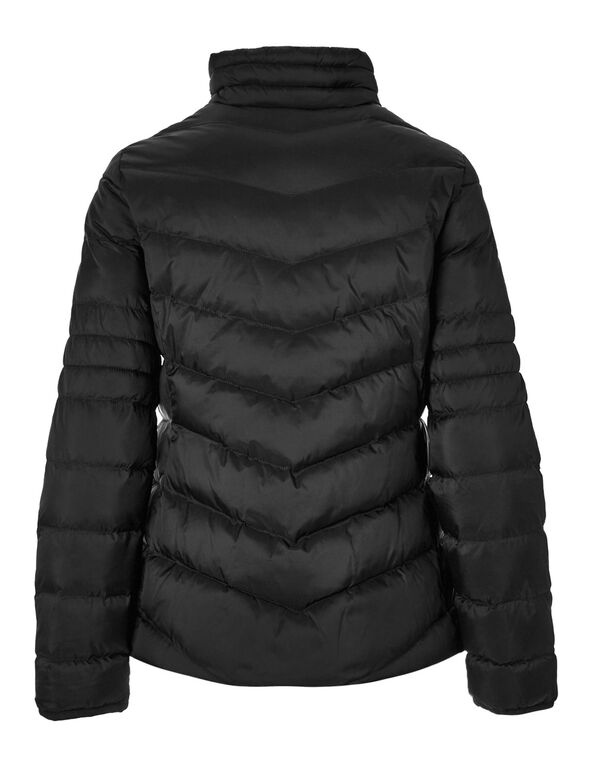 Black Puffy Faux Down Coat, Black, hi-res