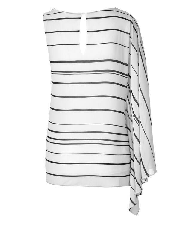 Striped One Shoulder Blouse, White/Pink, hi-res