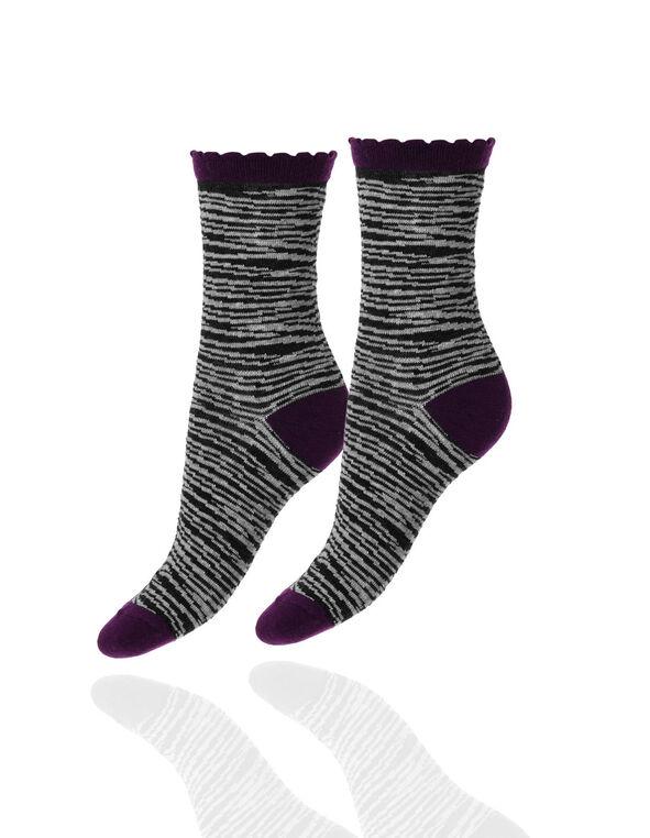 Grey Zebra Scallop Edge Sock, Dark Grey, hi-res