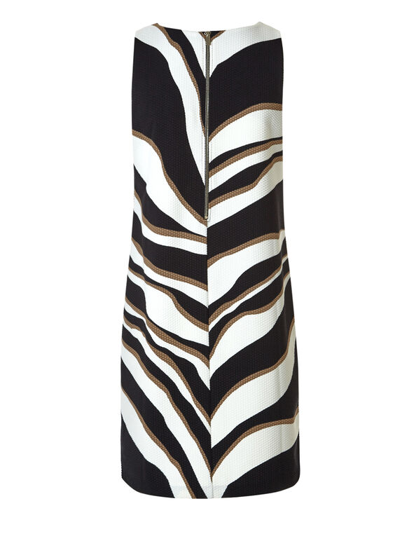 Black Print A-Line Dress, Black/Ivory/Nude, hi-res