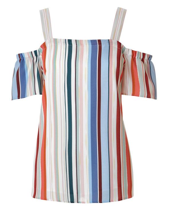 Striped Cold Shoulder Blouse, White, hi-res