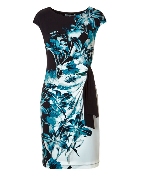 Blue Floral Side Tie Dress, Black/Blue/White/Grey, hi-res