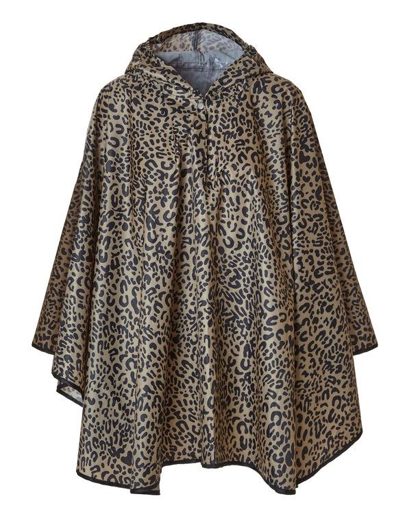 Leopard Printed Rain Poncho, Brown, hi-res
