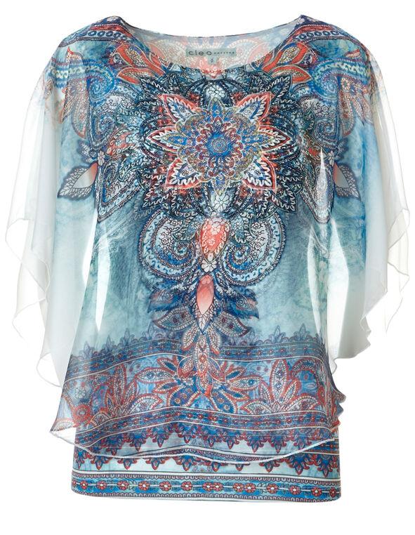Blue Printed Caftan Blouse, Blue Mix Print, hi-res
