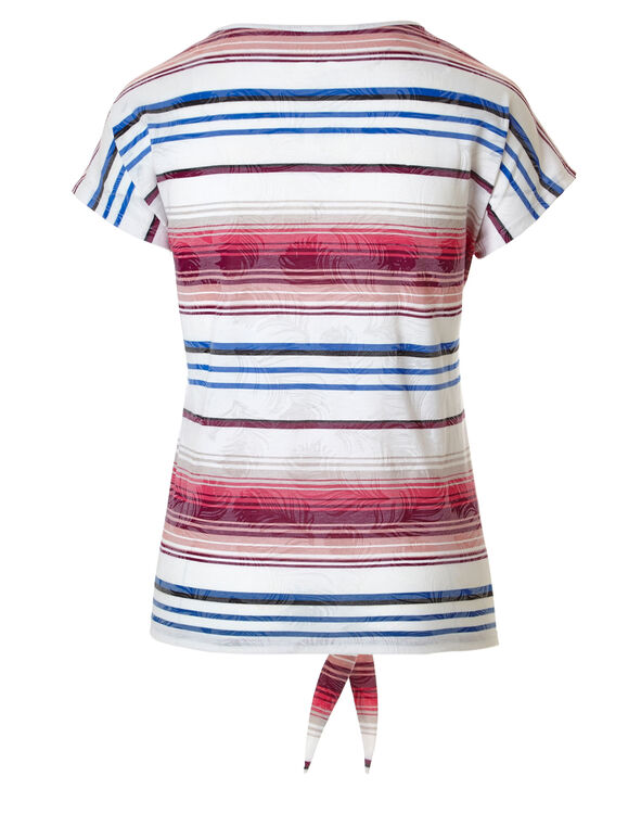 Striped Tie Tee, Pink/Pruple/White, hi-res