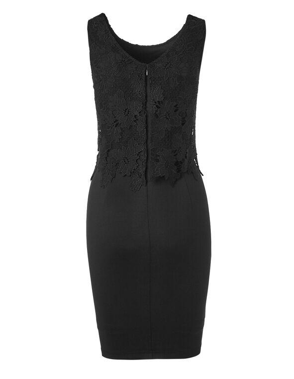 Black Lace Overlay Sheath Dress, Black, hi-res