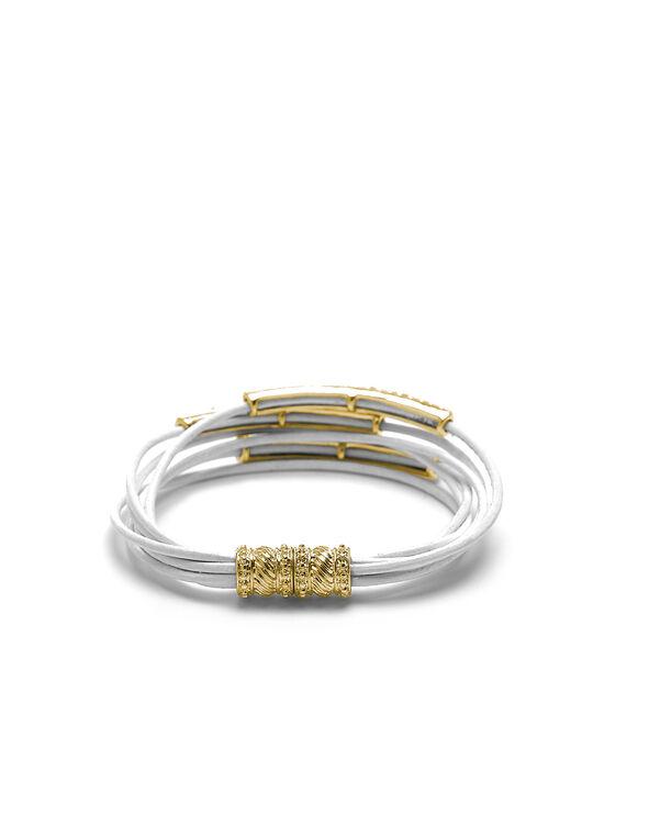 White Leather Cord Magnetic Bracelet, White, hi-res