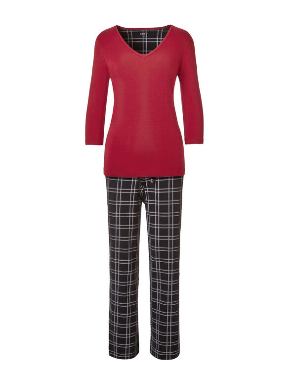 Red Plaid Ankle Pajama Set, Red, hi-res