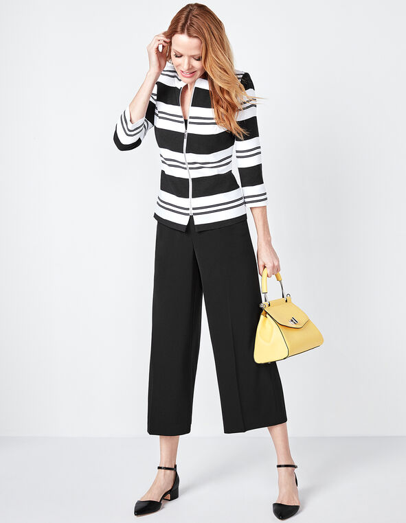 Striped Zip Front Blazer, White/Black, hi-res