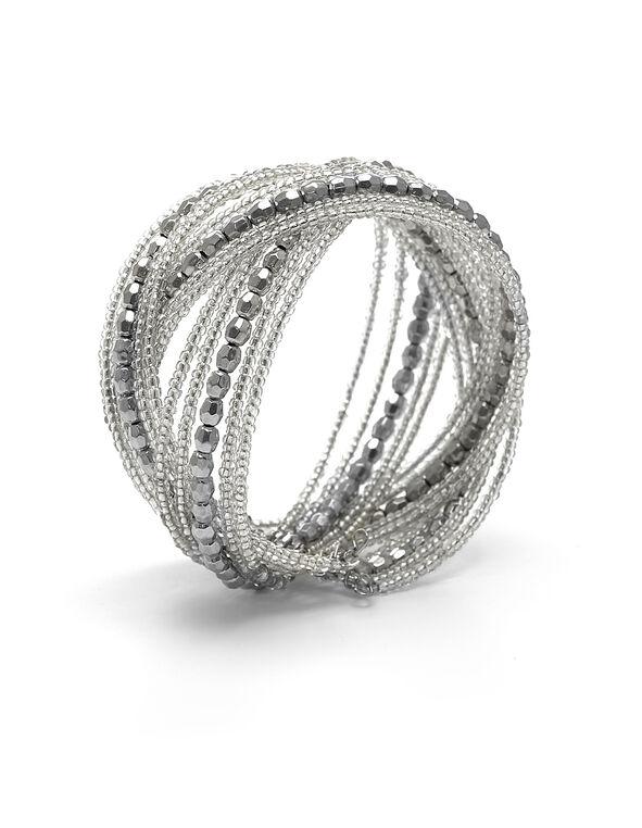 Silver Seed Bead Bracelet, Silver, hi-res