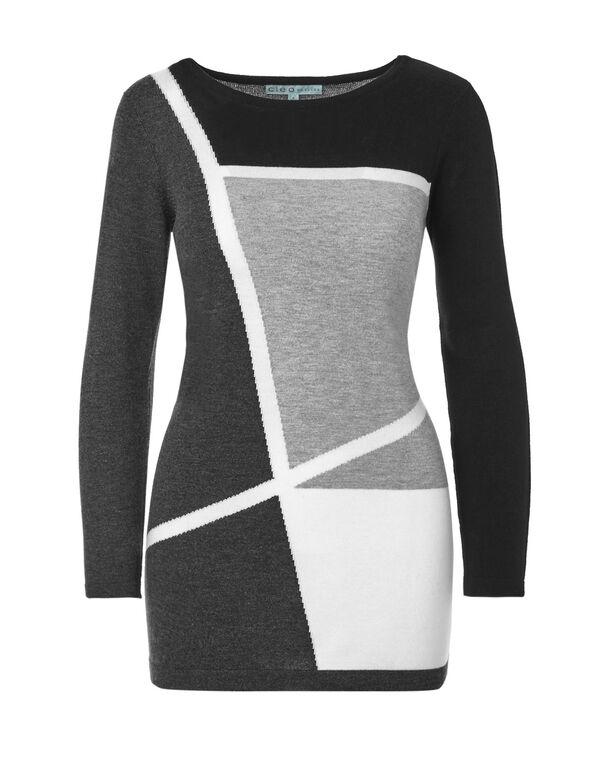Grey Long Sleeve Tunic Sweater, Grey, hi-res