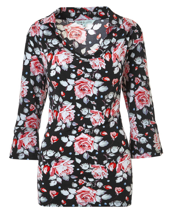 Black Floral Cowl Neck Top, Black Floral Print, hi-res