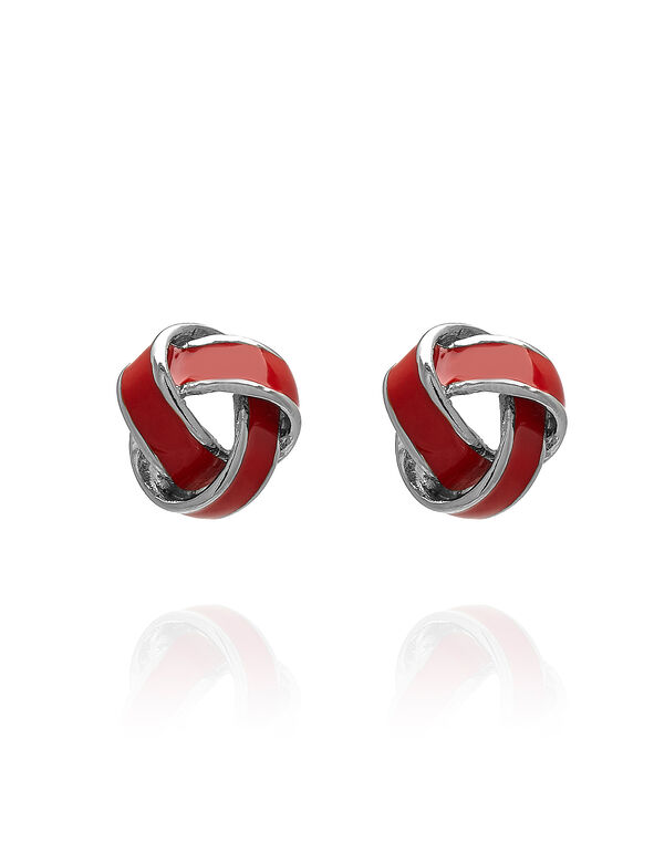 Red Epoxy Knot Earring, Red, hi-res