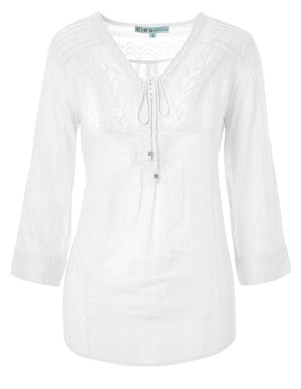 White Cotton Peasant Blouse, White, hi-res