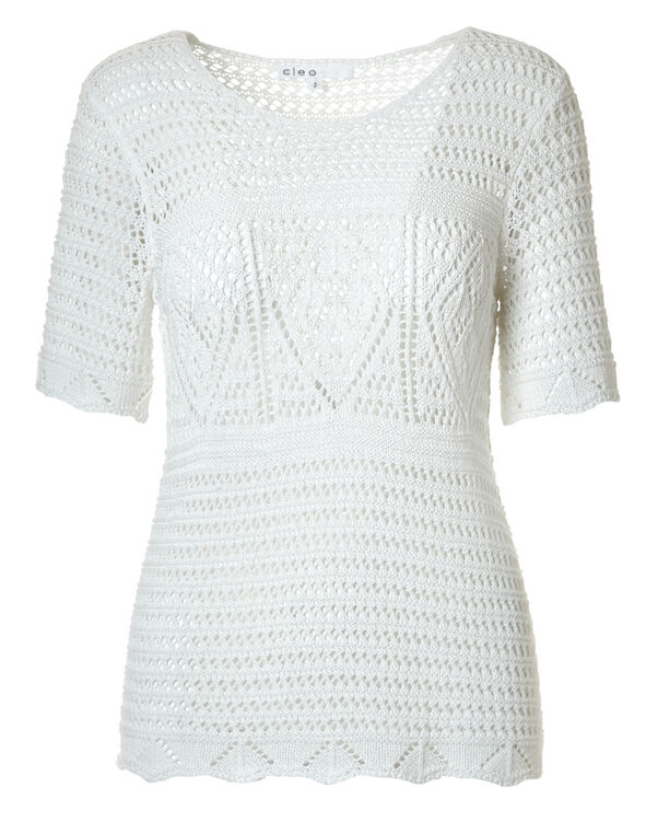 White Open Stitch Sweater, White, hi-res