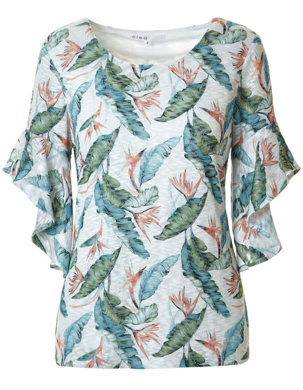 Palm Printed Ruffle Top, White Print, hi-res