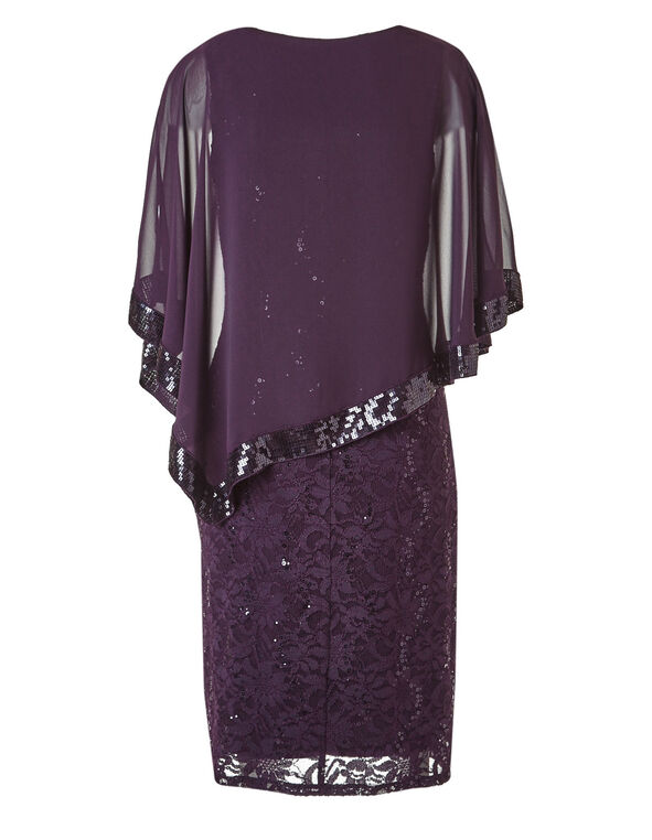 Puple Popover Sequin Dress, Purple, hi-res