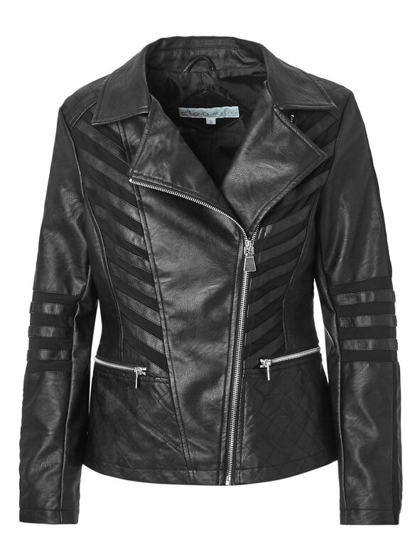 Black Notch Faux Leather Jacket, Black, hi-res