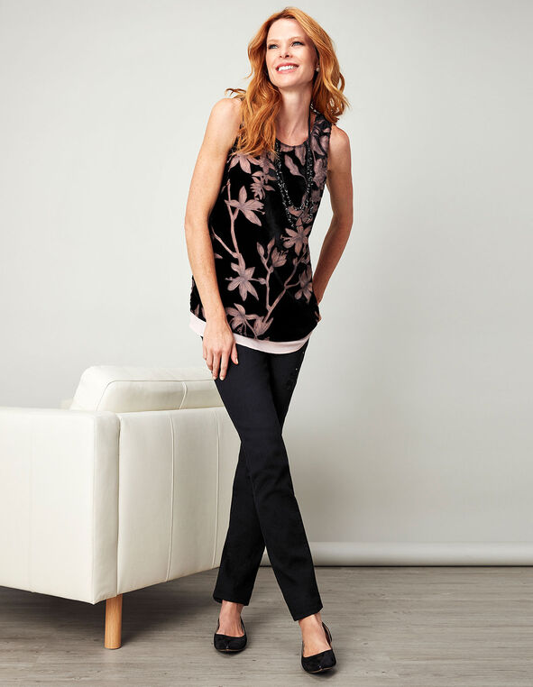 Pink Velvet Burnout Blouse, Black/Pink, hi-res