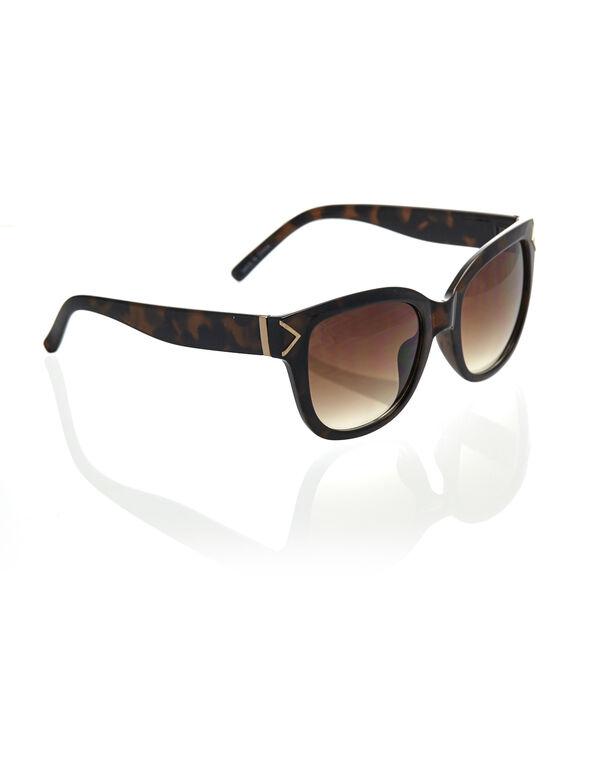 Brown Tort Wayfarer Sunglasses, Brown, hi-res