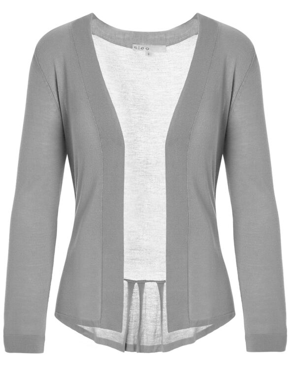 Light Grey Short Open Cardigan, Light Grey, hi-res