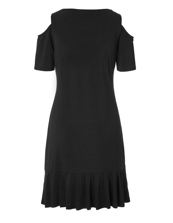 Black Pleated Bottom Dress, Black, hi-res