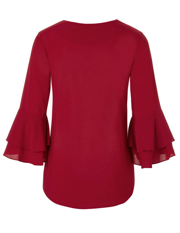 Red Bell Sleeve Blouse, Red, hi-res