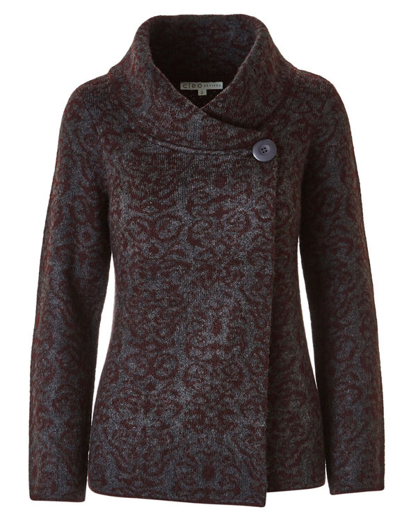 Burgundy Print Shawl Neck Cardigan , Grey/Burgundy, hi-res
