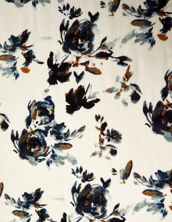 Blue Floral Oblong Scarf, Ivory/Blue, hi-res