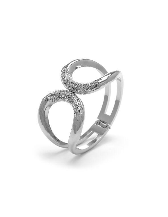 Silver Circular Hinge Bracelet, Silver, hi-res