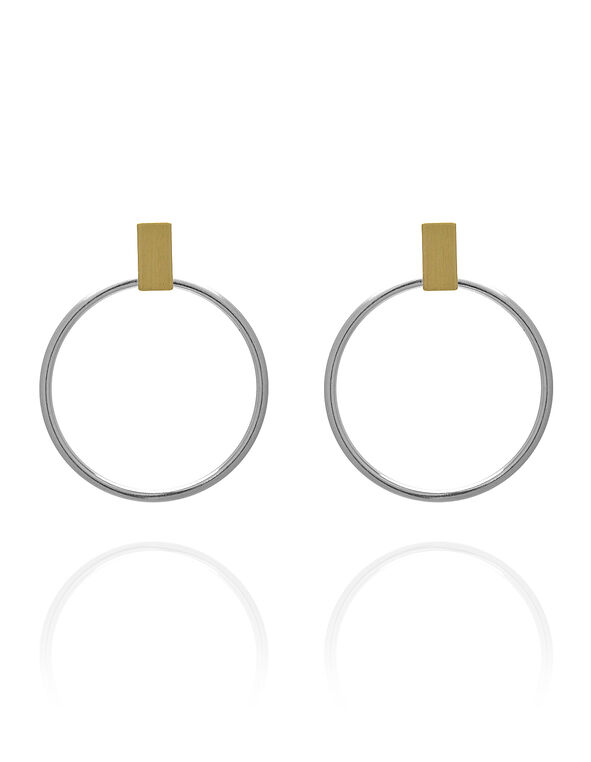 Two Toned Hoop Earring, Gold/Silver, hi-res