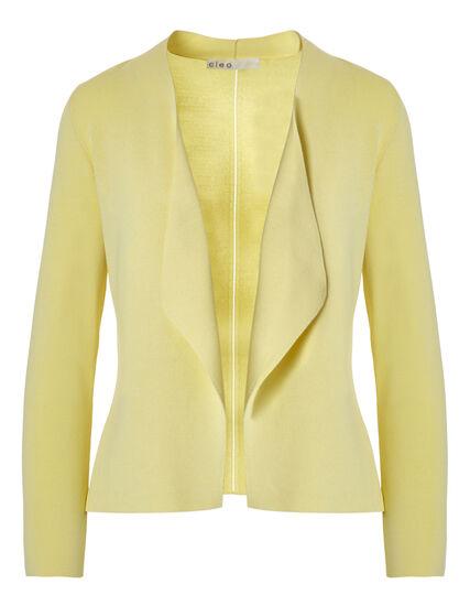 Yellow Crepe Open Mid Cardigan, Yellow, hi-res