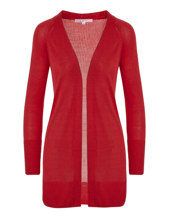Red Long Cardigan, Red, hi-res