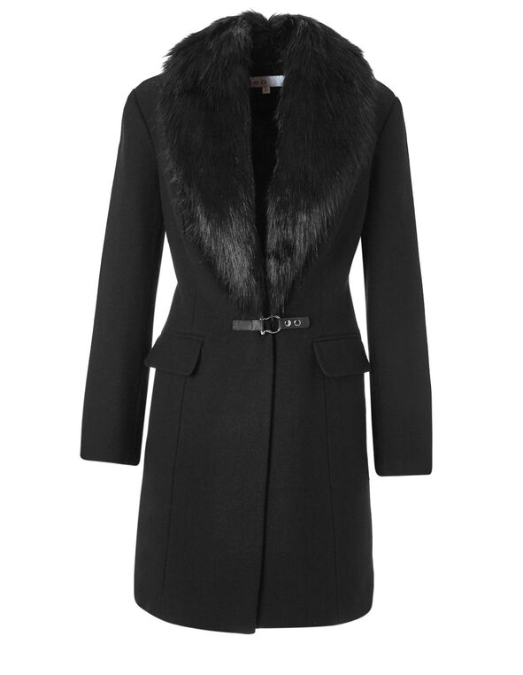 Black Wool Blend Coat, Black, hi-res
