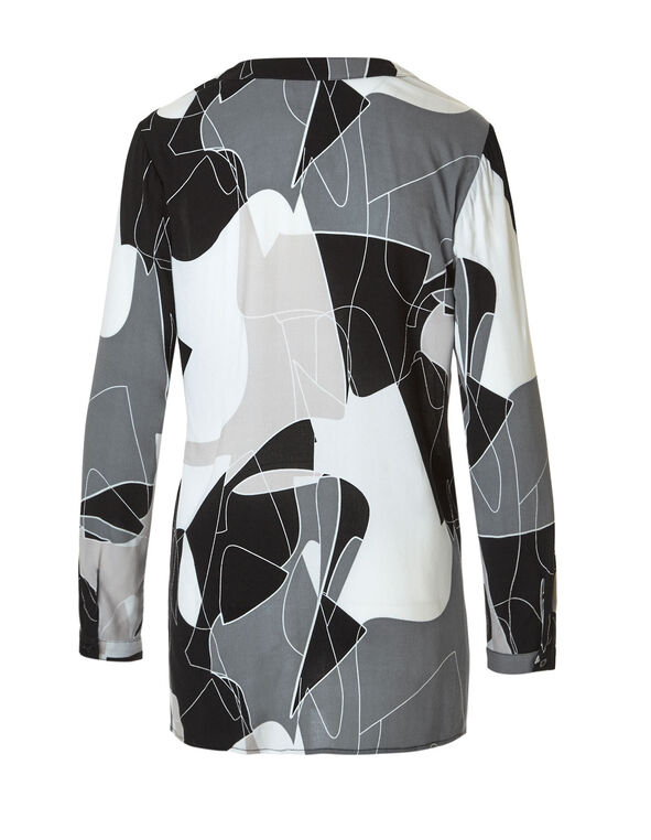 Neutral Geometric Printed Blouse, Neutral Pattern, hi-res